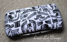 Mustaches and Top Hats on White Boutique Style Travel Baby Wipe Case