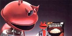 1970s food advert for dried mashed potato. Add hot water and voila..SMASH!!