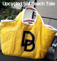 Sail Bag upcycled sail cloth beach tote bag DIY