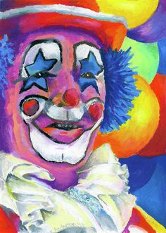 Clown with Balloons Painting by Stephen Anderson - Clown with Balloons Fine Art Prints and Posters for Sale