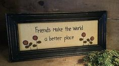 "Primitive Flower Stitchery ""Friends"" from Primitives by Kathy"