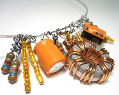 Computer Jewelry Component Necklace Caramel Orange Upcycled. $50.00, via Etsy.