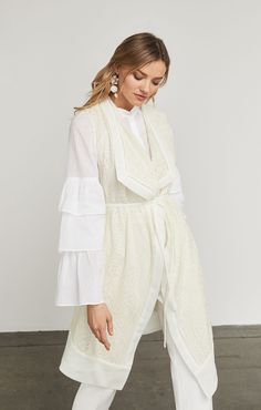 Anisa Embroidered Gauze Long Vest