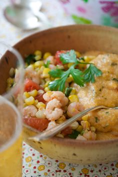 shrimp and corn with cheese grits - Healthy Seasonal Recipes