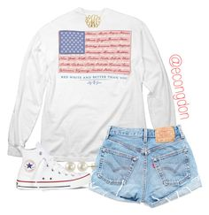 """merica"" by econgdon ❤ liked on Polyvore featuring Converse and PearLustre by Imperial"