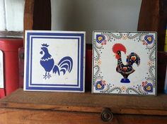 Two Hot Plates Tiles Roosters - Collectibles - Portugese Lucky Rooster $0.99