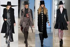 "Fall Trends for 2014: Western.  I like this because it reminds me of a ""Gothic Cowgirl"" - I just love asymmetrical clothing, long coats and anything black."