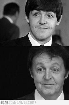 This is a photograph of James Paul McCartney in the upper photograph. The man in the lower photograph is NOT James Paul McCartney. Paul Mccartney, Ringo Starr, George Harrison, John Lennon, The Beatles, Music Rock, Fm Music, Rock Poster, Photo Recreation