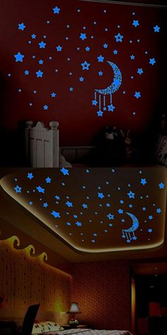 Fluorescent Stars Wall Sticker, Oksale 17.7 x 23.6 Inch, Glow In The Dark Kids Bedroom PVC Wallpaper Home Decor Removable Applique Papers Mural
