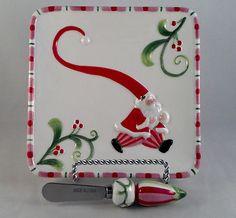 """Fitz & Floyd Christmas platter w/spreader ... Santa -- 14"""""""