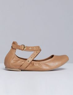 291792ded8db Ballet Flat with Grommet Ankle Straps Ankle Straps