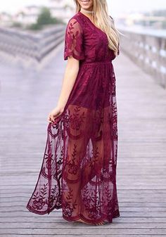 7f7b8ffb7598d Burgundy Floral Chain Lace Flowy Side Slit Deep V-neck Boho Beach Maxi Dress  - Maxi Dresses - Dresses