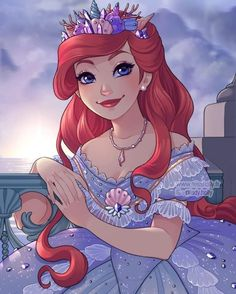 Princess Ariel in her beautiful seashell tiara Disney Princess Fashion, Disney Princess Pictures, Disney Princess Drawings, Disney Princess Art, Anime Princess, Disney Drawings, Princess Luna, Disney Style, Disney Fan Art