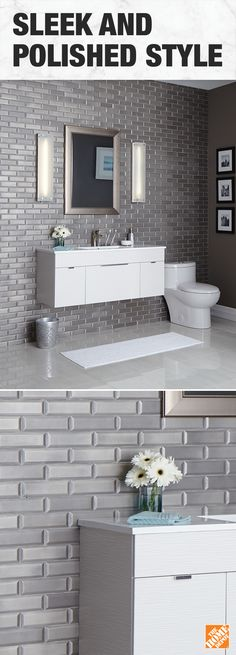 Metal mosaic wall tiles add drama to this stunning modern bathroom. Our Update & Save Event is here to help make your renovation dreams a reality.