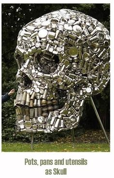 RECYCLED ART - POTS, PANS, FORMED INTO SKULL#STREET ART