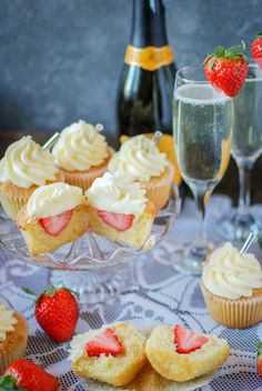 These strawberry prosecco cupcakes are hiding a little secret in their centres, a whole strawberry. Add prosecco frosting and you've got yourself a party. Cupcake Tray, Cupcake Cakes, Baby Cakes, Mini Cakes, Cupcake Recipes, Dessert Recipes, Desserts, Cupcake Ideas, Prosecco Cake