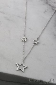 Star Necklace Gold Necklace 14 karat gold Minimal by TalesInGold Dainty Bracelets, Dainty Necklace, Star Necklace, Gold Necklace, Cute Jewelry, Modern Jewelry, Jewelry Necklaces, Jewelry Shop, Jewelry Accessories