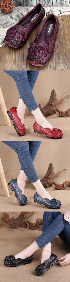 US$33.15  SOCOFY Flower Hollow Out Genuine Leather Original Soft Flat Loafers