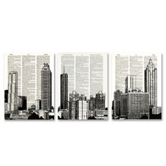 Atlanta Georgia Skyline 3 pack dictionary prints Cityscape awesome upcycled vintage dictionary page book art prints