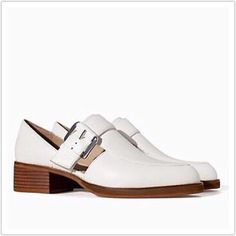 Zara Cutout Buckle Loafer Perfect for summer for sale are these versatile and chic white loafers.  Work with literally everything from dresses to denim.  Worn twice, excellent condition.  True to size. Zara Shoes Flats & Loafers