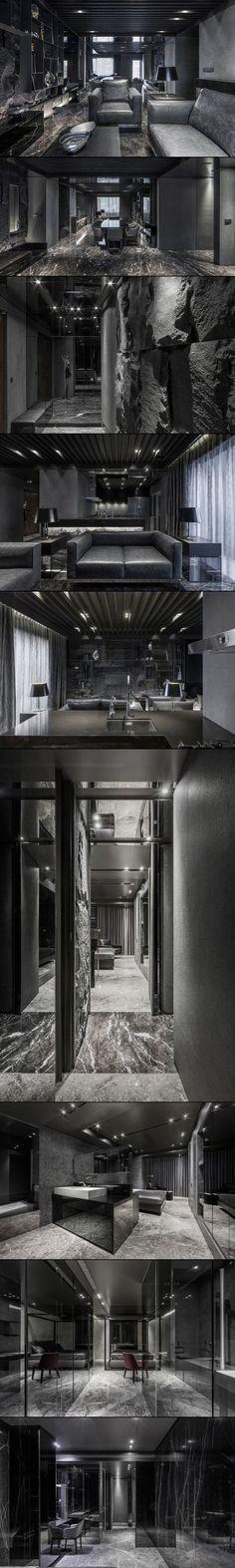 "Daring Monochromatic Interior Scheme: ""Home in Black Serenity"" in Taipei"