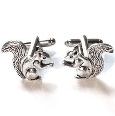 Silver-Squirrel-Cufflinks-Mens-Nuts-Eating-Animal-Cuff-Links-Guys-Gift