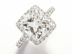 Cushion Halo Ring 5.01 CT Cushion Cent 0.89 TW Melee