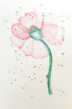 Watercolor Original Abstract Flower Painting Red for you by NEWLuv