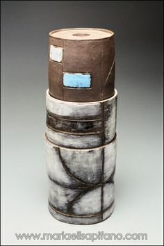 "Maria Elisa Pifano - ceramic sculpture ""Totem with blue rectangles"" glazed stoneware and engobes"
