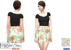 NyGirl Sims 4: Floral Flare Skirt