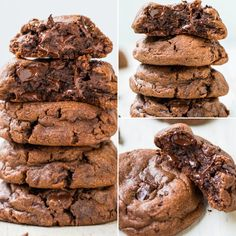 Quadruple Chocolate Soft Fudgy Pudding Cookies 🍪😍🍪- Super soft and LOADED with chocolate! Rich, decadent, and chocolate is used FOUR WAYS! They'll handle your fiercest chocolate cravings! Chocolate Fudge Cookies, Chocolate Cookie Recipes, Chocolate Chips, Brownie Cookies, Melted Chocolate, Giant Cookie Recipes, Chocolate Food, White Chocolate, Delicious Desserts