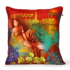 A painting from a bygone royal era, on a beautiful cushion cover.