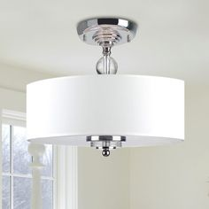 Crystal Decorated Off-White (Beige) Shade Flushmount Ceiling Chandelier (White Shade, Flushmount Ceiling Chandelier) (Acrylic)