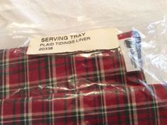Ebay $11.00 Longaberger-Serving-Tray-Red-Plaid-Tidings-Liner-With-Ruffled-Edge