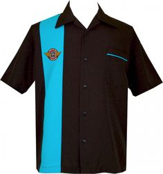Vintage Iron - Wow! What a cool shirt to cruise in…Stunning black and turquoise with Vintage Iron Patch. #rockabilly #bowlingshirts https://www.bowlingconcepts.com