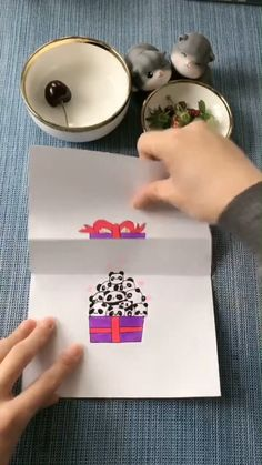 Drawing Tutorial - Panda In a Gift Box - Basteln Diy Crafts Hacks, Diy Crafts Videos, Diy And Crafts, Crafts For Kids, Recycled Crafts, Wood Crafts, Origami Rose, Origami Heart, Creative Crafts