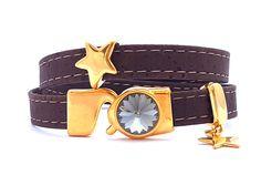 Wickelarmband Kork vegan mit Swarovski und Sternen vergoldet von…