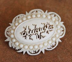 Victorian Carved Ivory Augusta Name Brooch