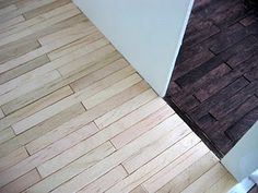 """""""DIY Tutorial Popsicle stick floors for Dollhouse."""" SO EXCITED! The wood floors I wanted were out of stock, and too expensive anyway - but I happened to have a ton of popsicle sticks from the thrift store. Just glue and stain! Can't wait!"""