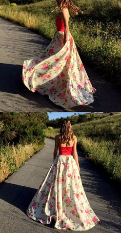 5310128fba74 Elegant A-line Printed Floral Red White Long Prom Dress Party Gown. Carol  Mower