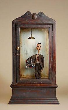 Art Dolls by Du Buh Du Designs: Kinetic Magic Shadow Box Kunst, Shadow Box Art, Found Object Art, Found Art, Art Antique, Kinetic Art, Paperclay, Assemblage Art, Sculpture