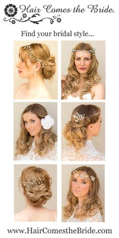 Shop affordable designer bridal hair accessories at www.HairComestheBride.com.