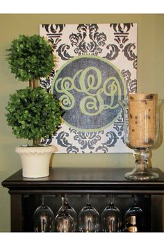Monogram canvas inspired by Pottery Barn Teen etc by mcleansa, $70.00