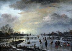 Aert van der Neer,Winter Landscape with Skaters, 1658  oil on canvas,42 × 56.5 cm (16.5 × 22.2 in)  Gemäldegalerie der Staatliche Museen zu Berlin