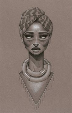 """Calypsoul"" by Sara Golish Charcoal, conté & silver ink on toned paper. 12.5"" x 19.5"" $500 #Afrofuturism #70s #SciFi #Retro #Future #NaturalHair #BlackArt #Blackisbeautiful #headwrap #jewelry #silver #art #drawing:"