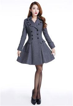 Chic Star Retro Grey Wool Blend Coat