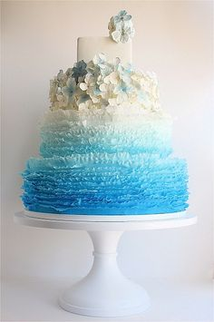 Maggie Austin Cake, blue ombre ruffles w/ hydrangias