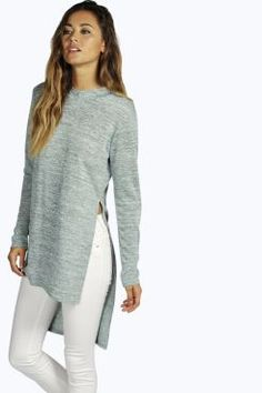 08857c7a6dd8 Andreea Side Split Hooded Tunic at boohoo.com Cable Knit Jumper, Sweater  Cardigan,