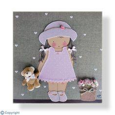 Cuadro infantil personalizado: Niña con sombrero (ref. 12009-04)