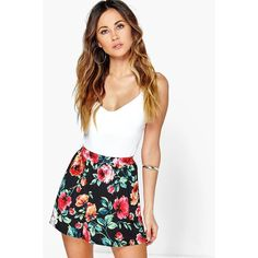 Boohoo Anna Floral Print Flippy Shorts ($14) ❤ liked on Polyvore featuring shorts, black, flower print shorts, party shorts, hot short shorts, micro shorts and floral culottes